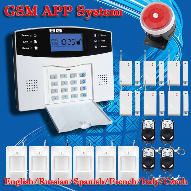 DHL Free Shipping English Russian Spanish French Voice Wireless GSM Alarm system Home font b security