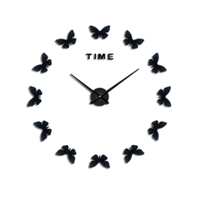 2018New3D Large Mirror Digital Simple Elegant Home Wall Stickers Diy Europe Acrylic Life Clock Horse Butterfly Free Shiping