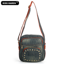 KISS KAREN Retro Fashion Studded Women's Messenger Bag Durable Denim Shoulder Bags Women Purse Jeans Crossbody Bags kiss karen floral lace women messenger bag vintage fashion studded denim bag women s shoulder bags summer jeans crossbody bags