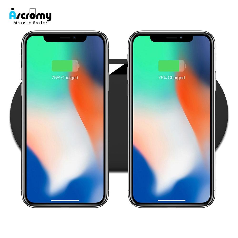 Ascromy Sans Fil De Charge Pad Double Qi Chargeur Station Pour Deux Téléphones iPhone X 8 Plus XS MAX Samsung S9 S8 carregador sem fio