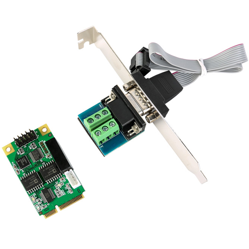 Mini PCIE USB to RS422 RS485 RS232 COM Port Card DB9 for Modem PDA GPS Bar Code Digitizer ISDN terminal adapter combo 2 serial 1 parallel ieee 1284 mini pcie controller card for mini itx mpcie to rs232 com port printer lpt port adapter