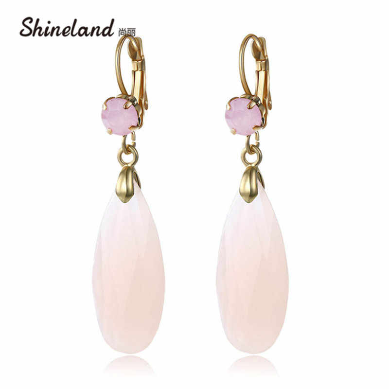 Shineland Fashion Drop Earrings  Women Accessories 6 Colors Crystal Rhinestones Long Statement Drop Earrings Jewelry For Women
