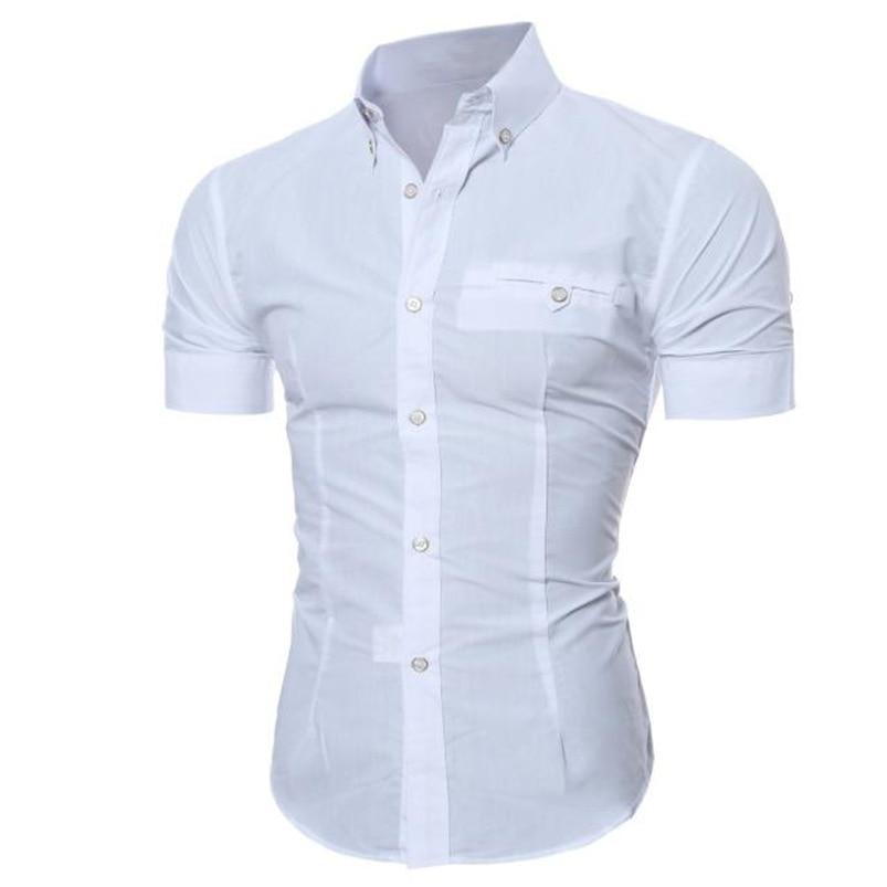 2018 shirt Men Summer Business Stylish Slim Short Sleeve Basic T Shirt Blouse Top Size M-5XL camisa masculina #M21 (12)