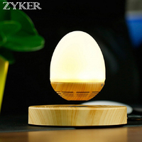 Zyker Magnetic Levitation Floating Bluetooth Speaker Grain Base Wooden Egg Shape Night Light Childrens Gift