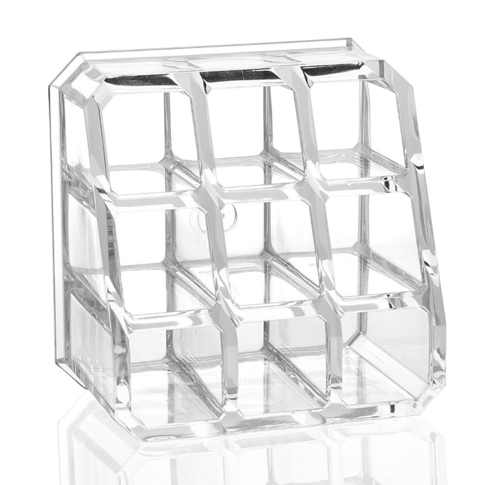 Behogar 9 Slots Transparent Acrylic Cosmetic Organizer Makeup Storage Box Nail Polish Lipstick Holder Make Up Jewelry Box