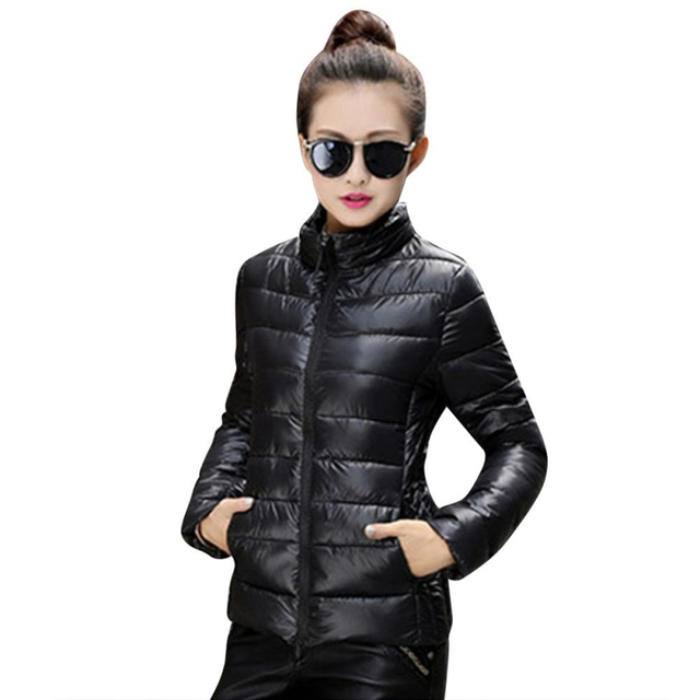 Женщины Осень Зима Теплая Ультра Легкий Хлопок Blend С Длинным Рукавом Молнии Черный Красная Куртка И Пиджаки Пальто