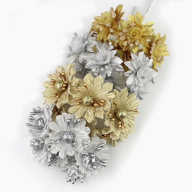 Online shop huadodo 6pcs golden silver glitter artificial silk huadodo 6pcs golden silver glitter artificial silk flower bouquet for wedding decoration scrapbook diy handcarft fake flowers mightylinksfo