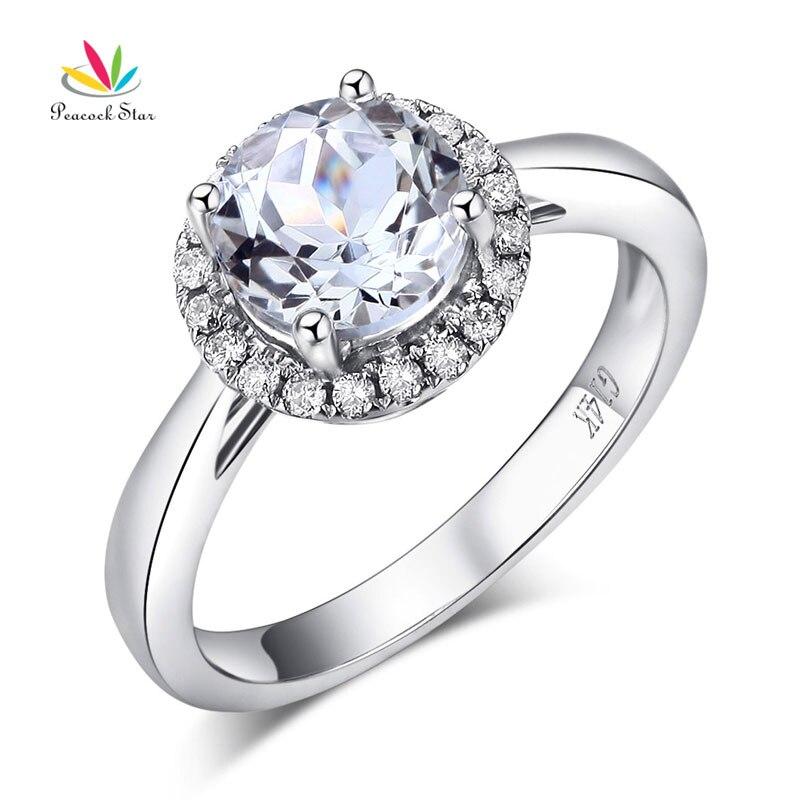 Bague de fiançailles de mariage en or blanc 14 K étoile de paon 1.2 CT topaze 0.16 CT diamants naturels