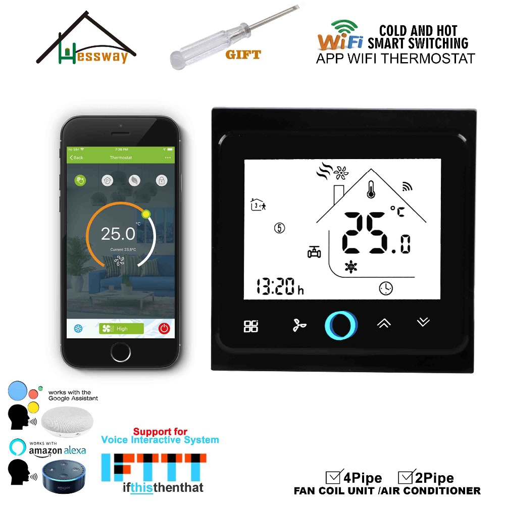 Image 5 - HESSWAY WIFI mobile APP remotely controls the home temperature control thermostat switch for fan coil heat cool-in Air Conditioner Parts from Home Appliances