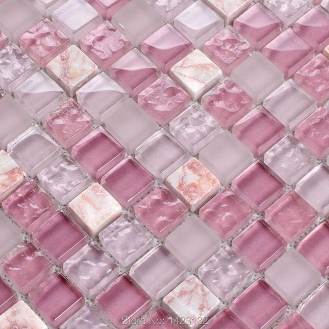 vidrio cristalino protector contra salpicaduras cocina rosa cristal y piedra mosaico de la mezcla azulejos pared - Azulejos Rosa