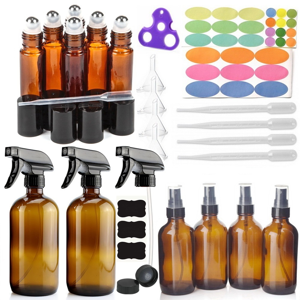 12 Pack Amber Glass Spray Bottle with 6-10ml Roll on Bottles 4-120ml & 2-500ml Sprayer Bottle & Accessories for Essential oils12 Pack Amber Glass Spray Bottle with 6-10ml Roll on Bottles 4-120ml & 2-500ml Sprayer Bottle & Accessories for Essential oils