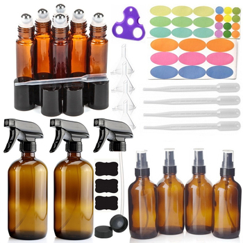 12 Pack Amber Glass Spray Bottle with 6-10ml Roll on Bottles 4-120ml & 2-500ml Sprayer Bottle & Accessories for Essential oils brown glass spray bottles premium 2 x 500 ml amber glass spray bottle with fine trigger for spraying and airtight lids