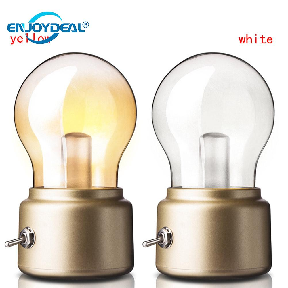 Retro Rechargeable LED Bulb Night Light Lamp USB ABS+Glass ...