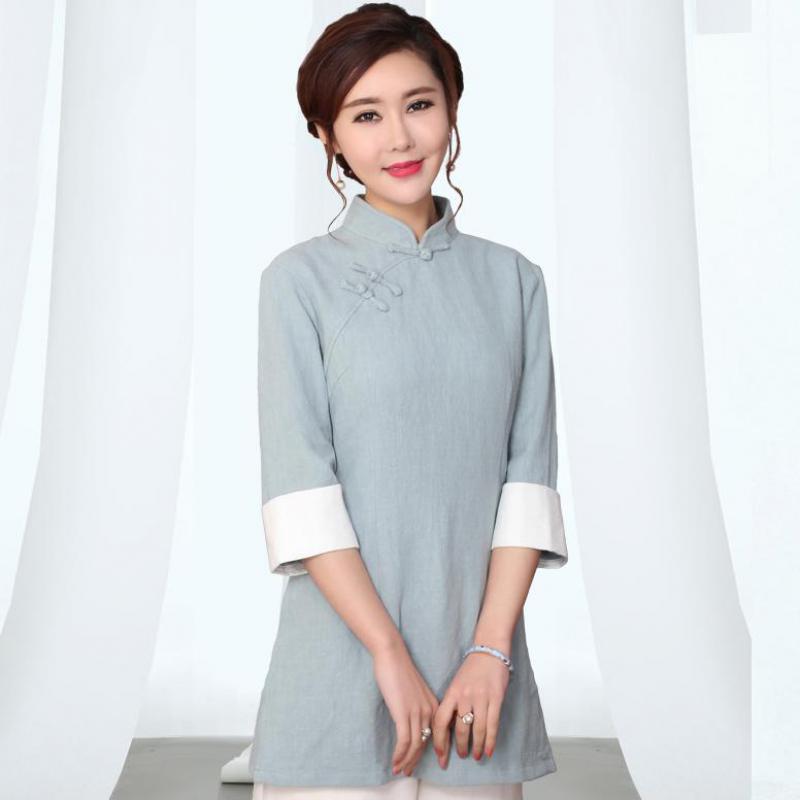 ส่วนลดวันนี้ ฤดูหนาวแห่งชาติแขนยาวเสื้อจีนผู้หญิงเสื้อสีทึบ United Natural