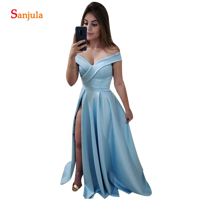 Sky Blue   Bridesmaids     Dresses   Off Shoulder A-line Long Satin Wedding Guest   Dress   Side Slit Women Party Gowns Simple BY78