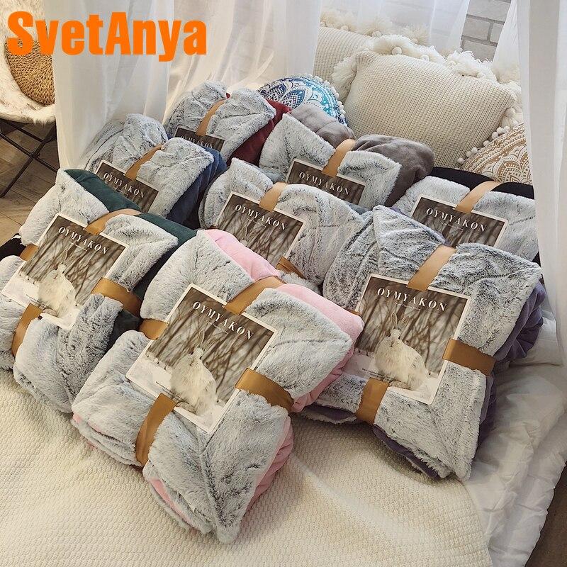 Svetanya 10$ купон OYMYAKON Одеяло двойной слой руководство машинная строчка бросает Стёганое одеяло-толстые теплые мягкие
