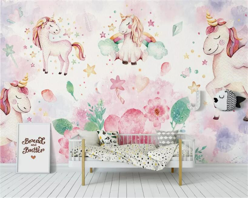 unicorn pink background papel flower modern wall children parede wallpapers beibehang custom decorating