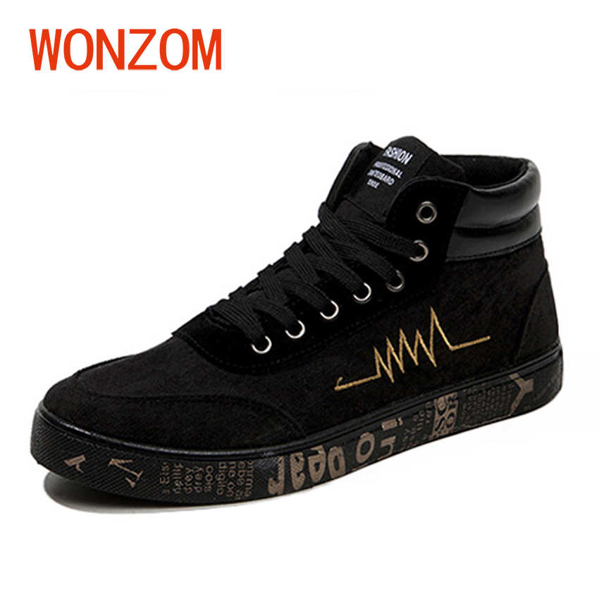 WONZOM 2018 New Fashion High Top Canvas Shoes For Men High Quality Breathable Flat Ankle Casual Shoes Sapatos Tenis Masculino hot sale 2016 top quality brand shoes for men fashion casual shoes teenagers flat walking shoes high top canvas shoes zatapos