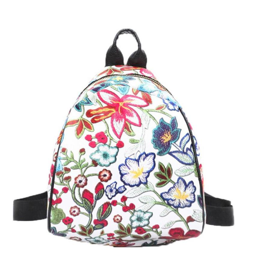 Vintage Embroidery Ethnic Canvas Backpack Flower Travel Bags Schoolbag Backpacks Girls Shopping Backpacks O30