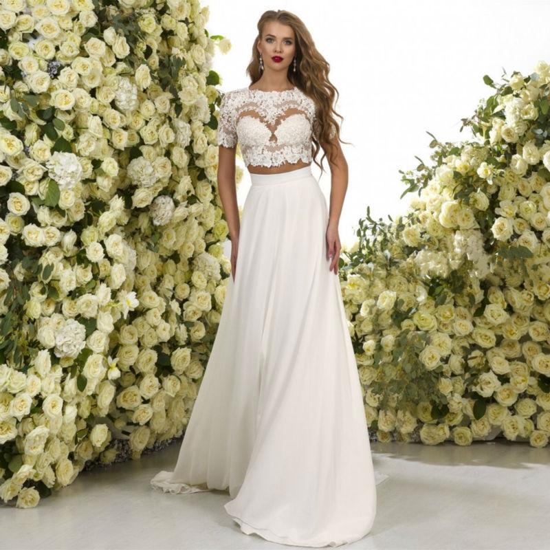 Boho style lace top white chiffon beach wedding dresses for Bohemian beach style wedding dresses