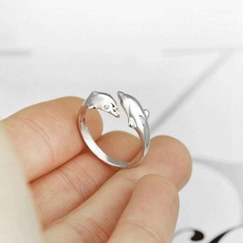 OMHXZJ ขายส่งบุคลิกภาพแฟชั่น OL ผู้หญิงสาวงานแต่งงานของขวัญเงิน Dolphin เปิด S925 แหวนเงินแท้ RN279