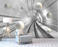 Beibehang Custom Living Room Room Backgrounds Decorative Wallpaper Mural Abstract Tunnel Space Orb 3d Wallpaper Carta