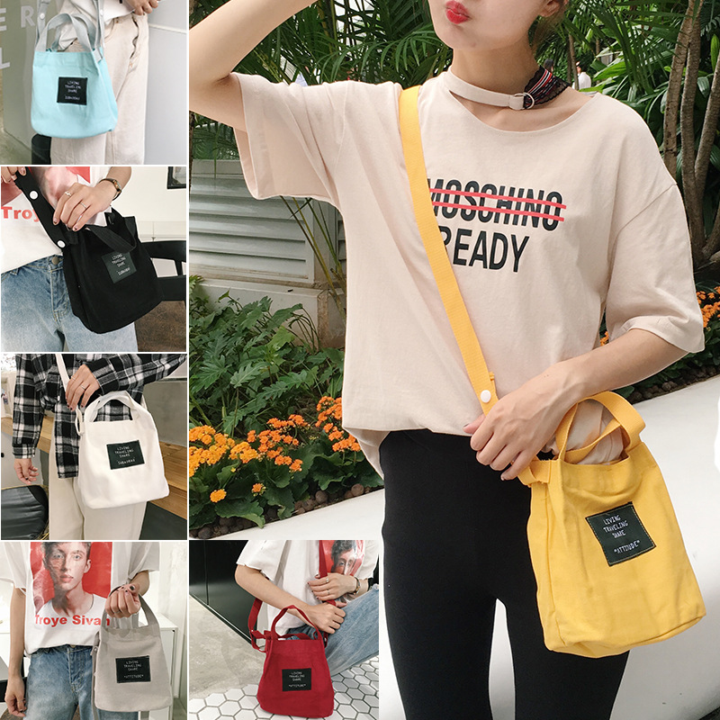 Candy Color Casual Handbag Bucket Type Messenger Bag Soft Girl Canvas Satchel Bag Small Bag Mini Bag In Summer ...
