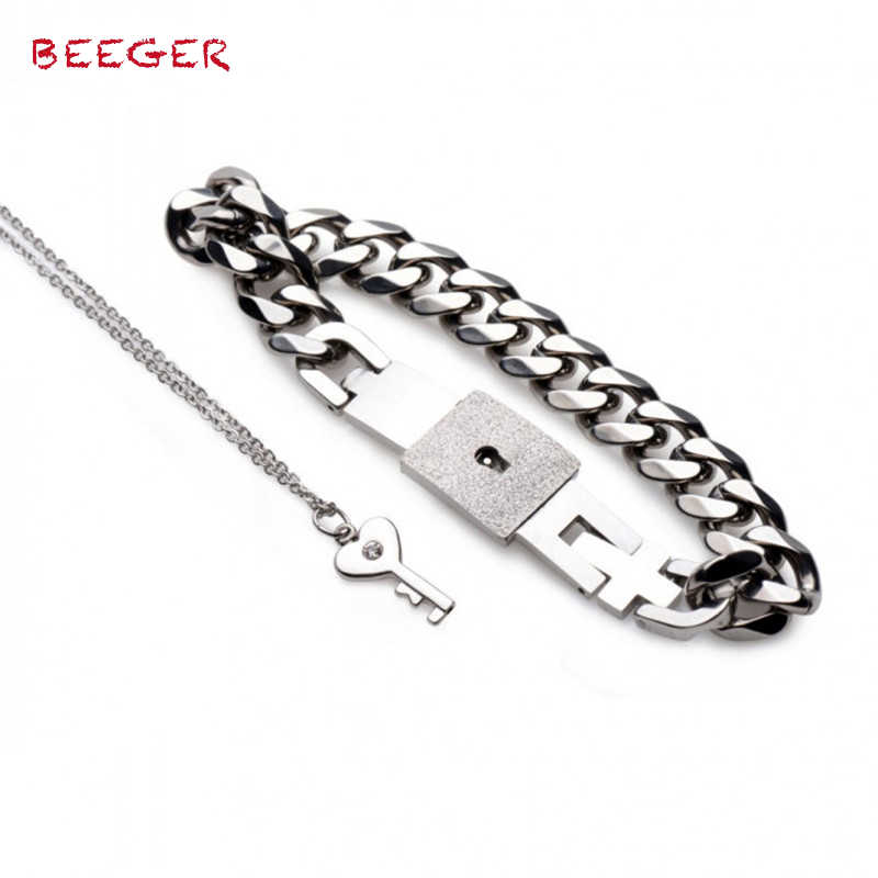 BEEGER Chained Locking Bracelet and Key Necklace,Hand Wrist Erotic Positioning Bandage cuffs Bracelets With Lock Chain
