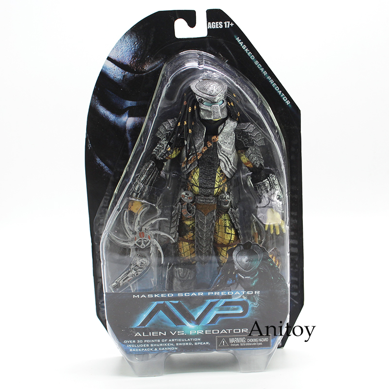 NECA Alien vs. Predator Masked Scar Predator and Scar Predator PVC Action Figure Collectible Model Toy 21cm predator action figure master wolf predator anime movie predator vs alien collectible model toy pvc 200mm