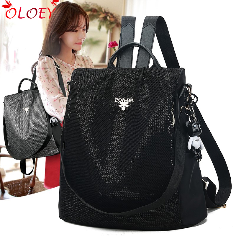 Backpack Female 2019 New Korean Version Of The Tide FashionSequin Wild Oxford Cloth Canvas Travel Bag Anti-theft Ladies Backpack
