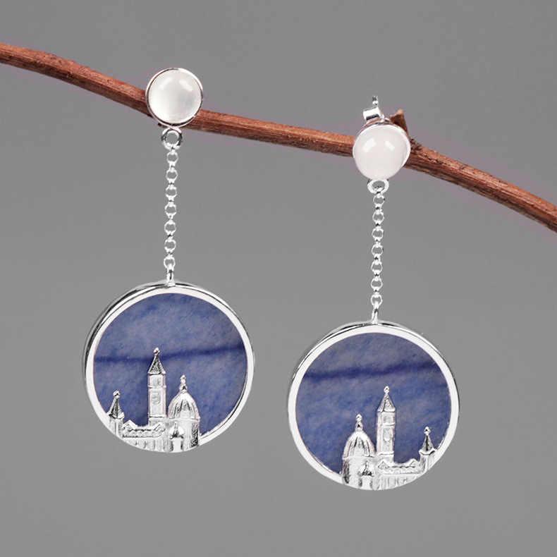 INATURE 925 เงินสเตอร์ลิง Aventurine สีฟ้า Florence Cathedral ยาว Drop ต่างหูสำหรับผู้หญิงเครื่องประดับ Brincos