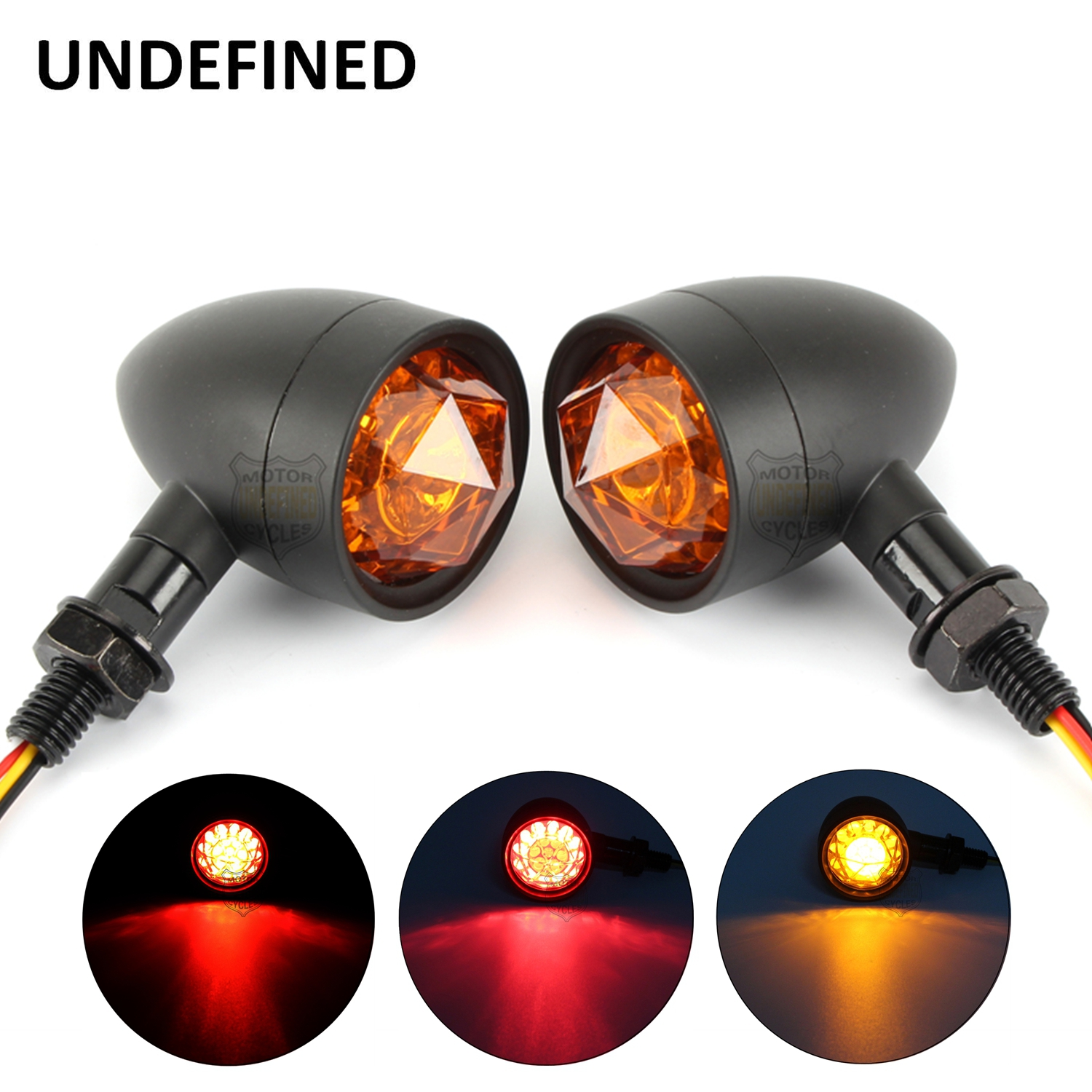 Black Motorcycle Diamond Lens LED Turn Signal Indicator Light Amber For Honda Kawasaki Yamaha Suzuki Chopper Universal10mm