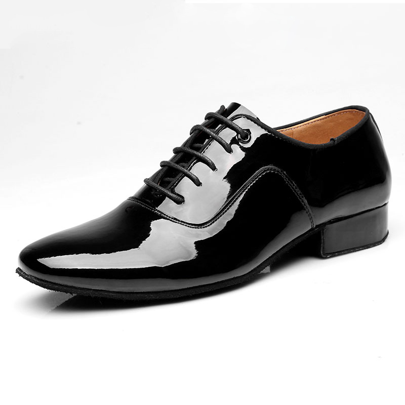 ФОТО Latin dance shoes men male adult ballroom dancing shoes square genuine leather soft outsole practice shoes dance shoes Stage