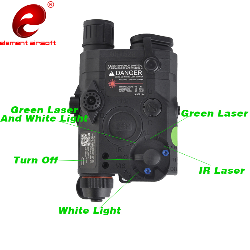 Element Airsoft Weapons Light LA 5C PEQ 15 UHP Appearance IR Laser Green Laser Gun Tactical Flashlight PEQ15 Hunting Lamp EX419 in Weapon Lights from Sports Entertainment