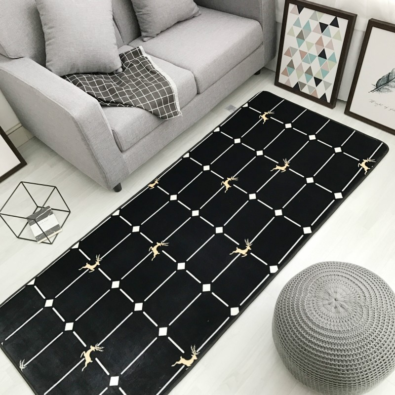 Black Soft Carpet for Home Living Room Popular Suede Rug with Anti Slip Back Velvet Kids Rug and Carpet Baby Play Crawling Mat