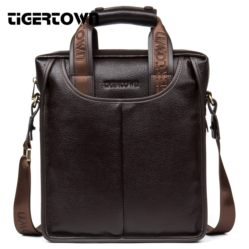 100% Top Genuine Leather TIGERTOWN Brand Cowhide Business Messenger Bag Men  Portable Laptop Casual Purse Shoulder Casual Bags