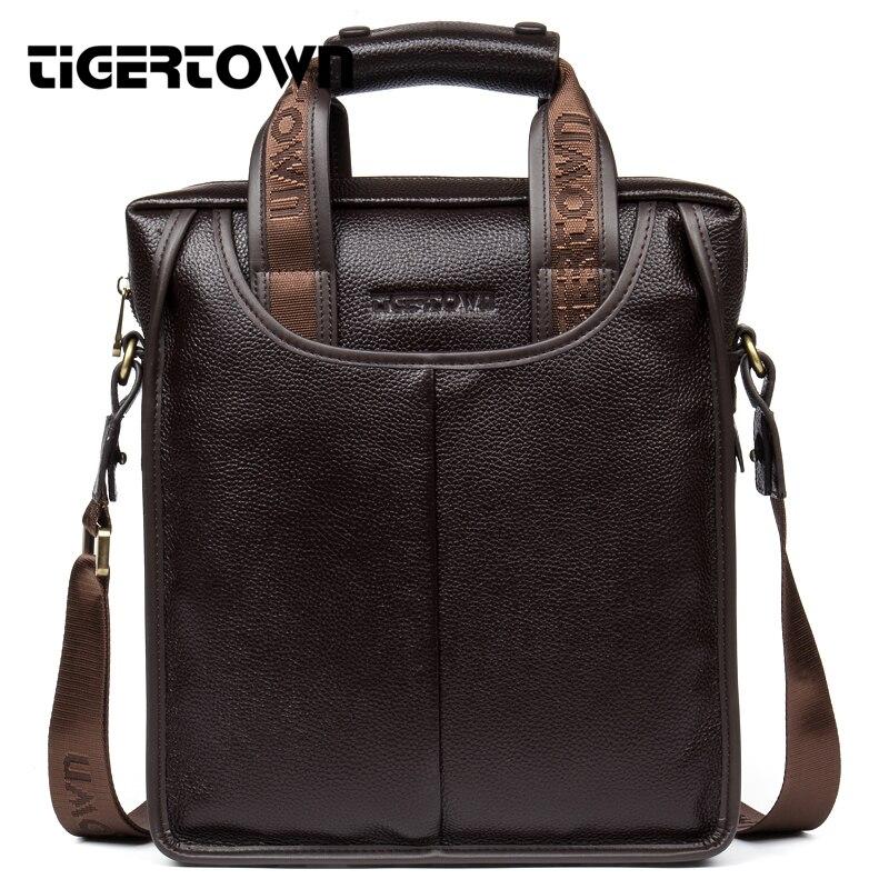 100% Top en cuir véritable TIGERTOWN marque peau de vache affaires Messenger sac hommes ordinateur portable sac décontracté épaule sacs décontractés