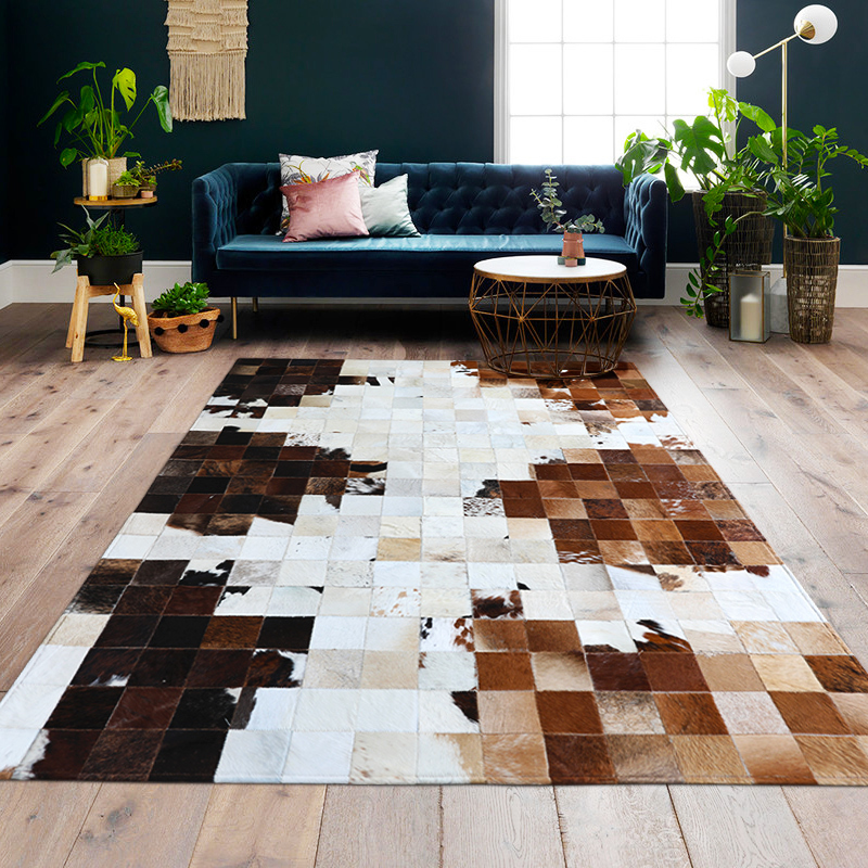 American Style Cowhide Patchwork Rug , Big Size Genuine  Cow Skin Fur Carpet, Plaid Decorative Living Room Rug SALES