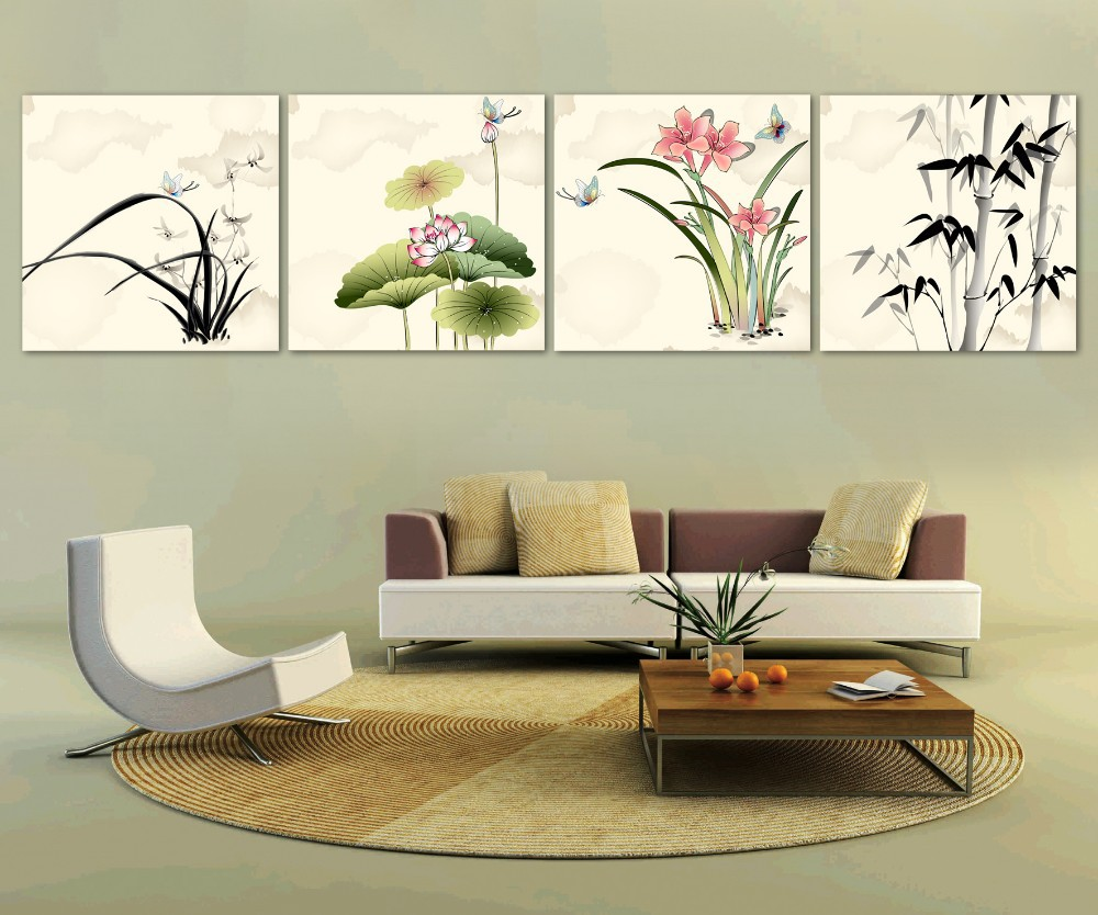 Free Shipping Chinese Bamboo And Lotus Oil Painting Home Decoration 4 Pieces Set Paint On Canvas Wall Pictures For Living Room