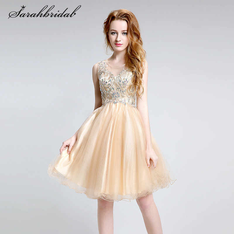 Youthful Sparkly Short Prom Dresses Mini O-Neck Zipper Back And Hollow Party  Cocktail Gowns d9e8b5154e88