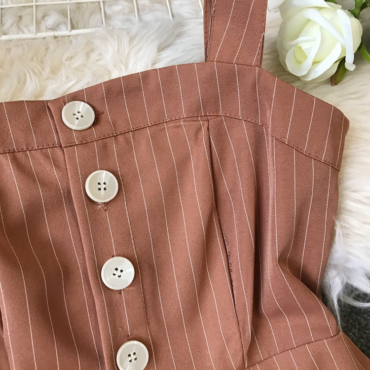 2019 Spring and Summer Korean New Stripe High Waist Open-back Jumpsuit Women Sleeveless Broad-legged Overalls G794 13