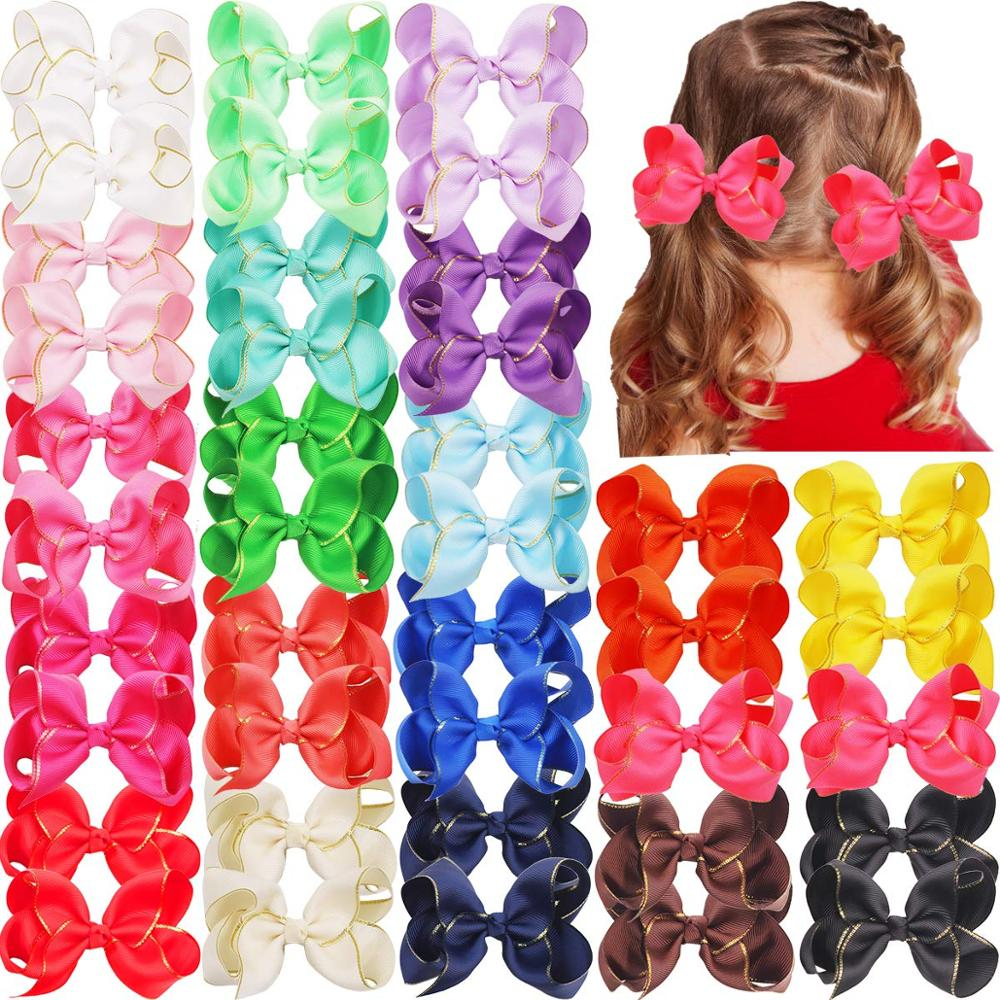 """40PCS 6/"""" Large Bow Hair Alligator Clips Girls Inch Bows Girls School Gifts Newly"""