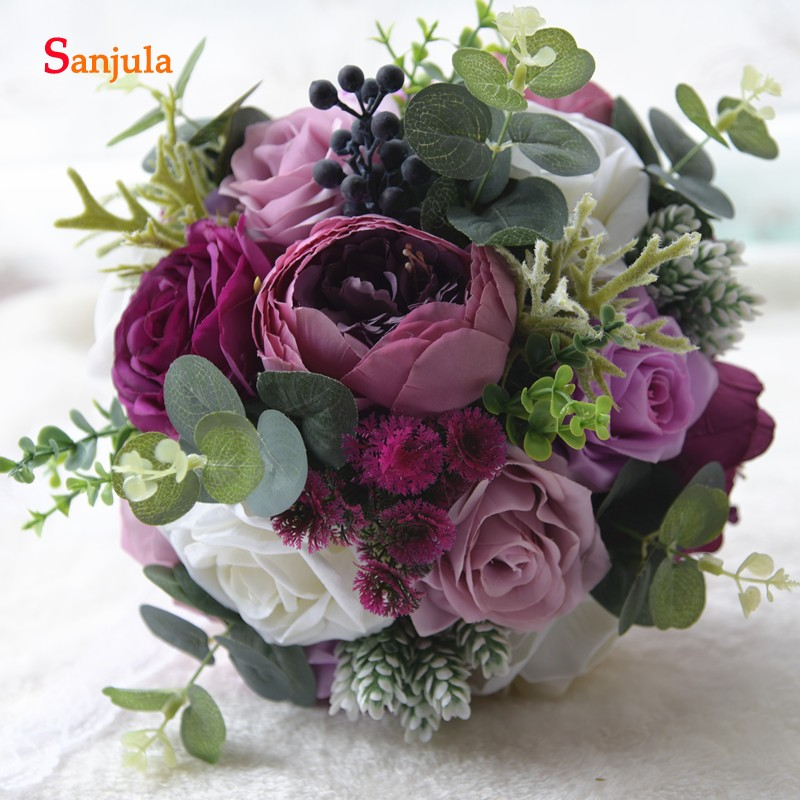 Beautiful Flowers For Weddings: Artifical Peony Rose Bride Hand Bouquet Beautiful Flowers