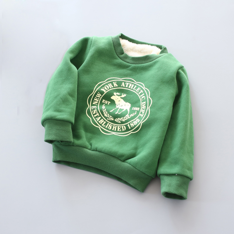 BibiCola Boy Girls Sweater Clothes Children's thick Sweatshirts baby Fawn pattern Casual Kids Plus velvet thick Tops Costume