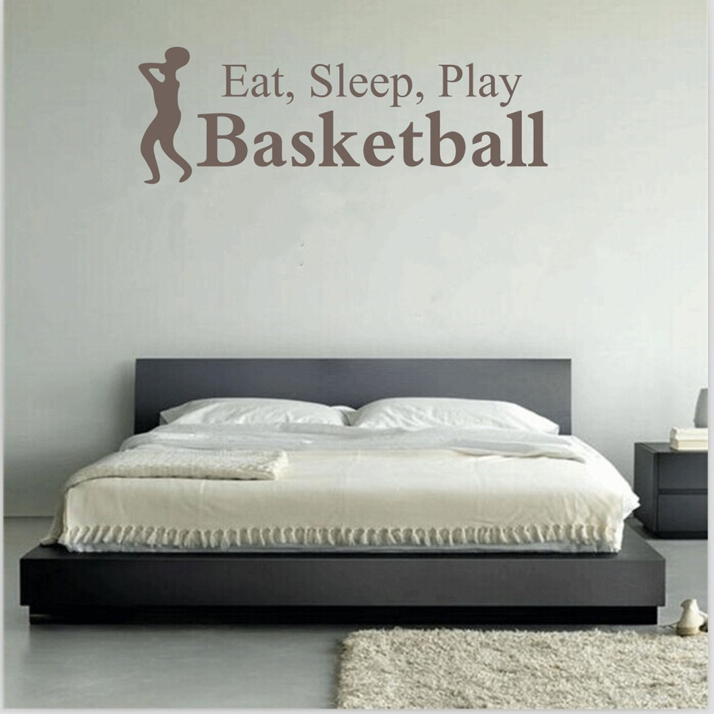 Wall decoration stickers for bedroom - Eat Sleep Play Basketball Letter Decal Wall Decor Sticker Room Sports Wall Sticker China