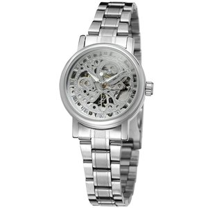 Image 2 - WINNER Ladies Classic Automatic Mechanical Watch Self Wind Carving Skeleton Roman Index Dial Full Steel Women Wrist Watches