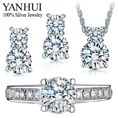 YANHUI 925 Sterling Silver Jewelry Sets Luxury CZ Diamond Wedding Ring Necklace Earrings Bridal Sets For Women African Set HS026