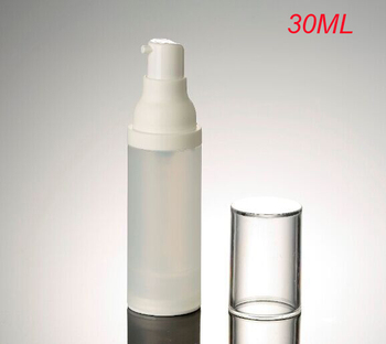 30ml airless bottle frosted body with white pump, 1OZ emulsion foundation packaging, serum bottle with airless pump