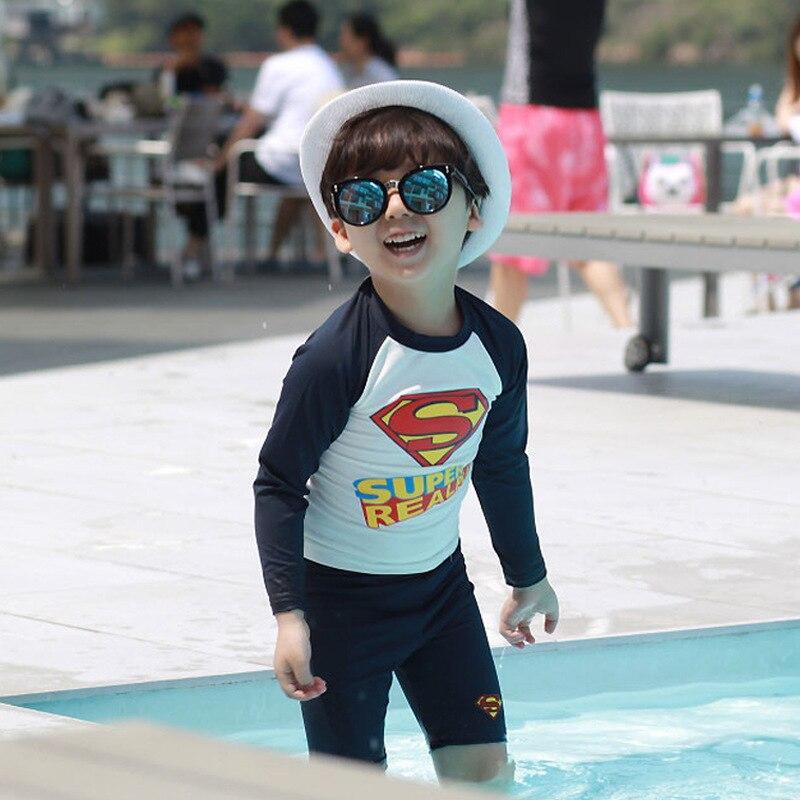 33ac050168 Children's Swimsuit Baby Swimwear Superman Beach Clothes Kids Baby Boys Bathing  Suit Beachwear 2pcs Rash Guards UV Protection