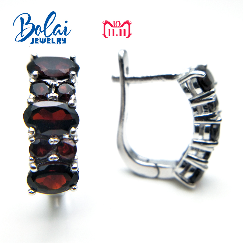 Bolaijewelry,2018 Hot new product Natural garnet gemstone clasp simple special earring 925 sterling silver fine jewelry women natural tanzania bracelet fashionable new product design jewelry exhibition new product 925 silver beautiful lady attention coll